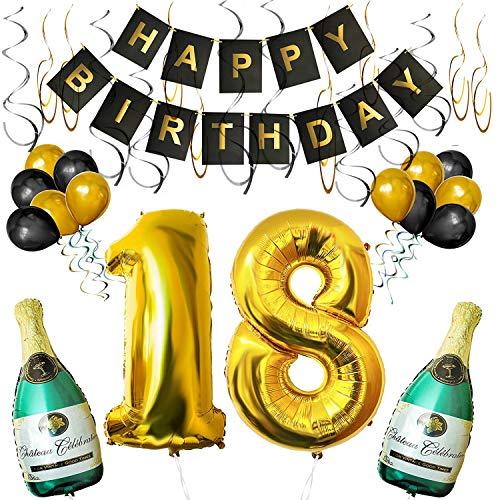 18e Verjaardag Versieringen - Pakket Bevat Happy Birthday Slinger, Opblaasbare Champagneflessen, Nummer 18, Latex Ballonnen en Krullen - 32-Delige Feestartikelen in Zwart en Goud