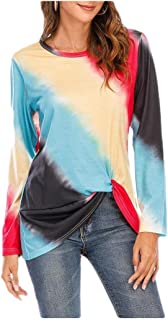 HEFASDM Women Blouse Casual Weekend Crew-Neck Long Sleeve Gradient Ramp Tees