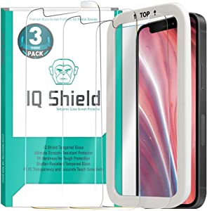 IQ Shield Tempered Glass Screen Protector for Apple iPhone 12 Mini [Version 2](3-Pack)(5.4 inch)(Installation Frame Included) Accurate Touch, 9H hardness, 99.9% Transparent HD & Shatter-Proof Shield