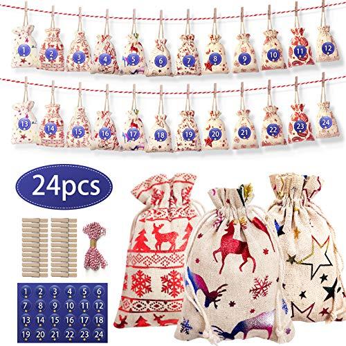 Baozun Adventskalender Zum Befüllen Jutesäckchen Adventskalender 24 Stück Weihnachten Geschenktüten DIY Stoffbeutel Weihnachtskalender Tüten