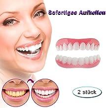 Dientes Cosméticos Perfecto Sonríe Anti-Real Dentadura Carillas Dentales Superior e Inferior Reutilizable y Extraíble para Cuidado Dental