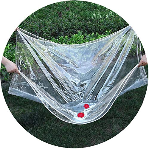 LIANGLIANG Tarpaulin Waterproof Heavy Duty, PVC Glass Rainproof Wind Resistance Linoleum, Soft Easy to Stack Metal Holes, Terrace Balcony Keep Warm Cold Protection (Color : Clear, Size : 1x1m)