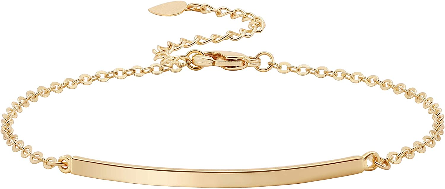 Recommended Dainty Gold Bar Bracelet for Women Delicate Thin Ban Cheap SALE Start Cuff Simple