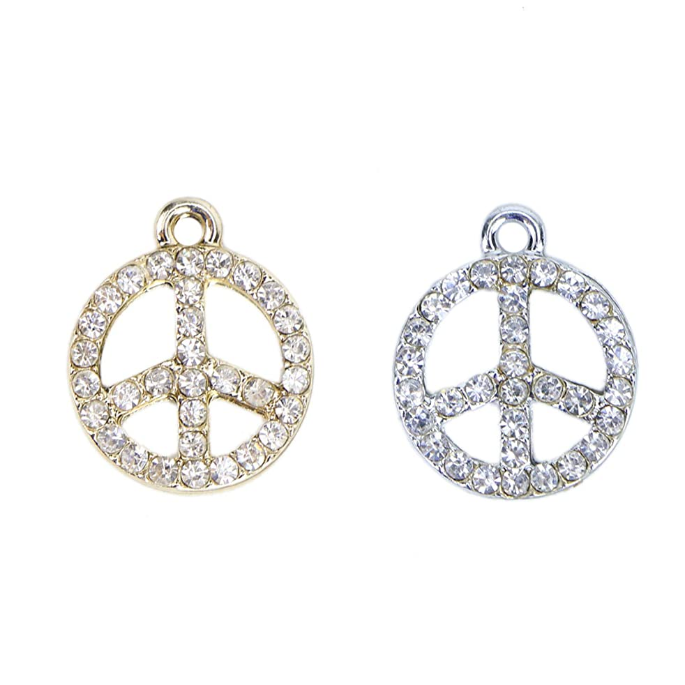Monrocco Crystal Peace Sign Charm for Jewelry Making Bracelet (Gold+Sliver)