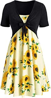 Women Dress Summer Women Vintage Daily Short Sleeve Dress Sunflower Print Mini Dress with Bow Crop T-Shirt
