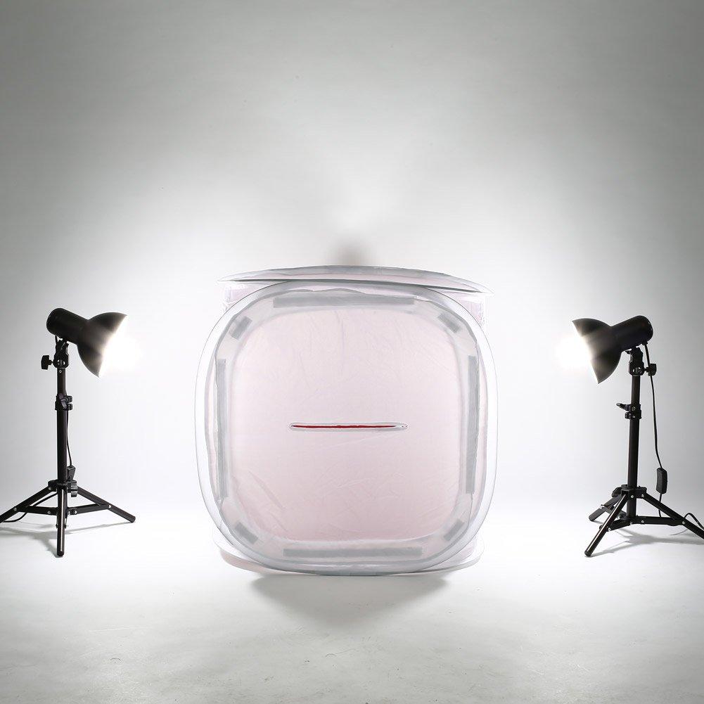 Amzdeal Caja de luz portátil, 50 x 50 cm Difusor en forma de caja para estudio de fotografía, Kit de iluminación incluye cuatro fondos (rojo, azul oscuro, negro y blanco): Amazon.es: Electrónica