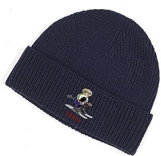 قبعة صغيرة للشتاء من الصوف بتصميم الدب للجنسين من بولو رالف لورين مقاس واحد