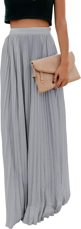 ebossy Women's High Waist Flowy Pleated Chiffon Maxi Skirt