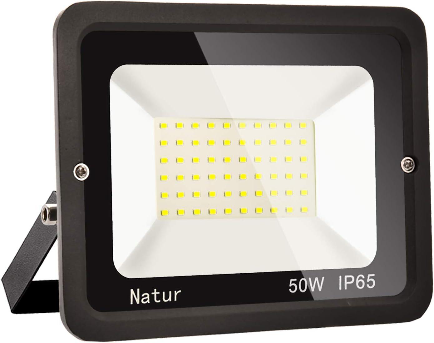 50W LED Foco Exterior Alto Brillo Proyector Led Impermeable IP65 Blanco Cálido 3000K Floodlight Led Foco Exterior Iluminación para Patio, Camino, Jardín, Almacén [Clase de Eficiencia Energética A++]