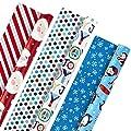 Hallmark Christmas Reversible Wrapping Paper, Kids (Pack of 3, 120 sq. ft. ttl) Santa, Joy, Penguins, Snowflakes, Polka Dots, Stripes