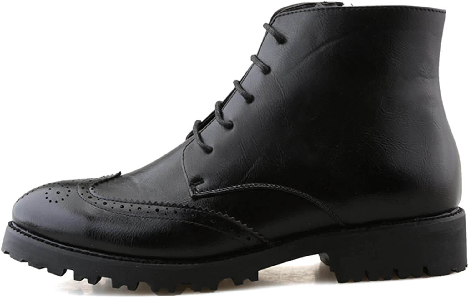 QLVY men's Classic Leather Oxfords Lace-Ups Hight top Smart Formal Black shoes