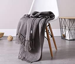Plaid Striped Throw Blanket with Tassel Soft Knitted Towel Blankets for Travel Airplane Outdoor 130x160cm Anti-Pilling Por...