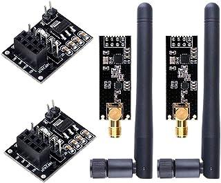 WayinTop 2pcs NRF24L01 + PA + LNA Módulo de Comunicación Transceptor Inalámbrico con SMA Antena 2.4GHz 1100m + 2pcs NRF24L...