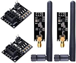 WayinTop 2pcs NRF24L01+PA+LNA RF Transceiver Module with SMA Antenna 2.4 GHz 1100m + 2pcs NRF24L01 Wireless Module with Breakout Adapter On-Board 3.3V Regulator Compatible Arduino