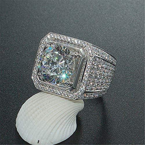 Men s Luxurious Full Diamond Ring for Men Jewelry Mens Wedding Engagement Rings 18K White Gold product image