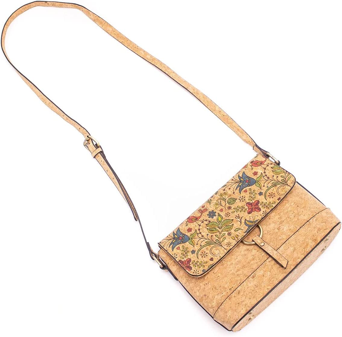 Natural Cork Crossbody Bag with Cute Flower Pattern