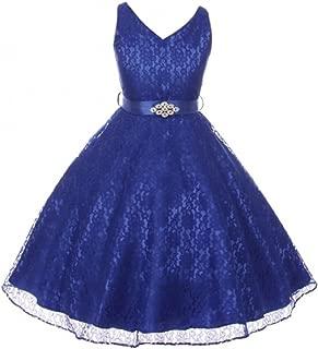 V Neck Sleeveless Lace Floral Pattern Satin Sash Flower Girl Dress Size 4-16