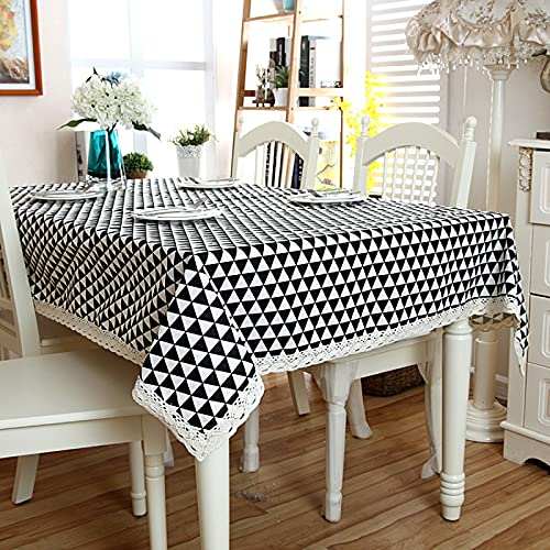 DSman fácil de Limpiar, para jardín, Habitaciones, decoración de Mesa, Encaje geométrico triángulo Gris Blanco y Negro