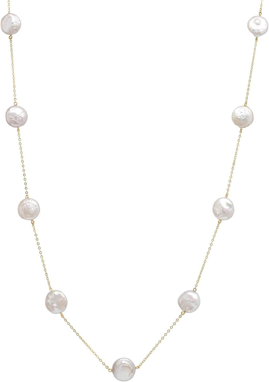 14K Yellow Gold 12mm Coin Cultured Freshwater Pearl Tin Cup Chain Necklace Jewelry for Women 20