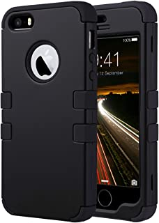 ULAK Funda para iPhone SE 2016, iPhone 5/5S Capa 3 en 1 híbrido Case Resistente a Prueba Golpes Dura Cubierta Trasera Shock Absorbente TPU Parachoques Caso para Apple iPhone 5/5S/SE - Negro