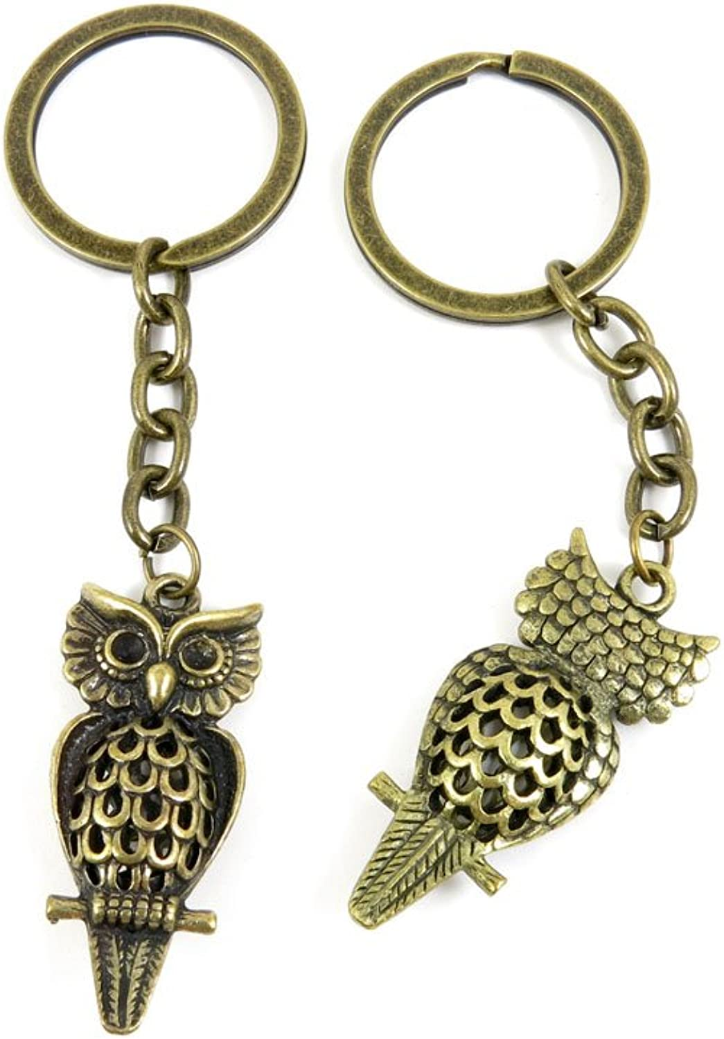 40 PCS Keyring Car Door Key Ring Tag Chain Keychain Wholesale Suppliers Charms Handmade H3KQ3 Hollow Owl