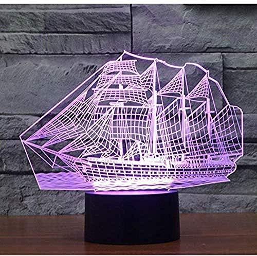 Luz de noche de 3D para niños visual Ilusión óptica Luz de noche para Niños Tecnología de navegación para barcos De Habitación De Niños Lámpara De Mesa Los Mejores Regalos De Vacaciones De Cumple