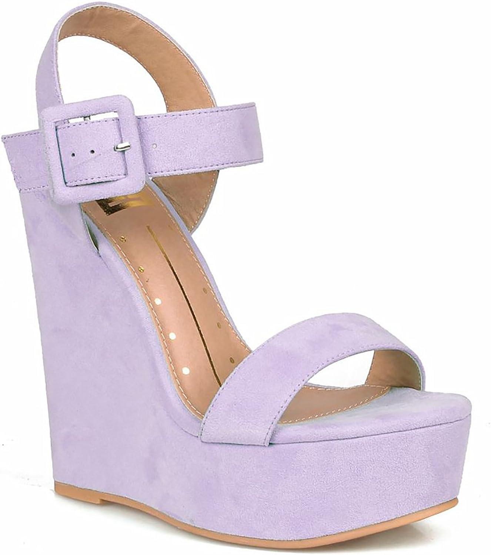 purplec Vegan Suede Open Toe Buckled Ankle Strap Platform Wedge
