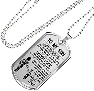 Awesome Son Gift Vegeta Trunk Father Son Dog Tag Chain Military Version - Fan Dragon Ball Movie Silver/ Gold Pendant - NEVER LOSE - Inspirational Birthday Gift For Son/ Teenagers On Anniversary