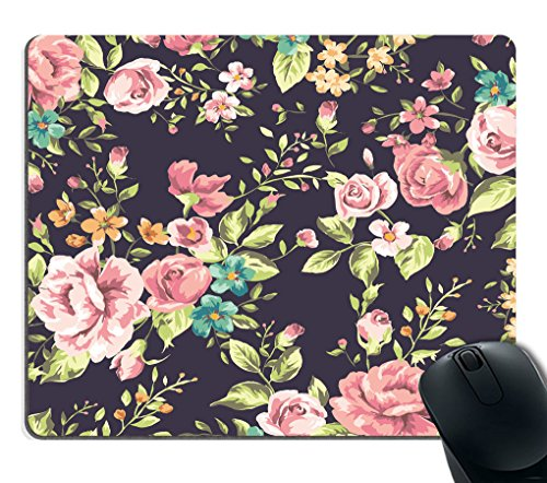 Smooffly Flowers Mouse Pad Custom,Red Rose Flower Pink Floral Print Mouse Pad 9.5 X 7.9 Inch (240mmX200mmX3mm)