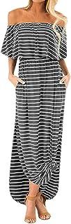 JULYKI Women Stripe Maxi Dresses, Off Shoulder Casual Loose Dress Split Formal Dresses