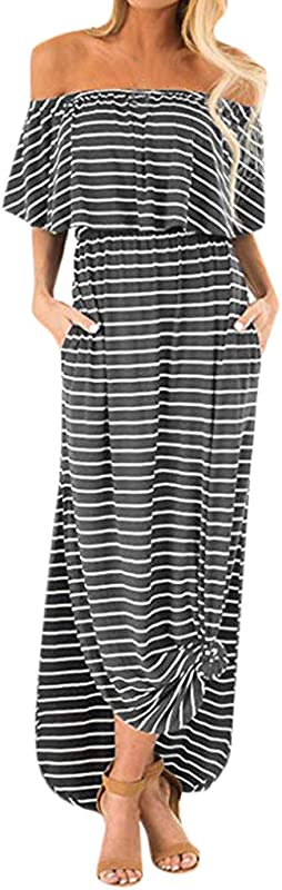 Rambling New Women Off Shoulder Stripe Print Ruffle Casual Side Split Beach Maxi Dress With Pockets
