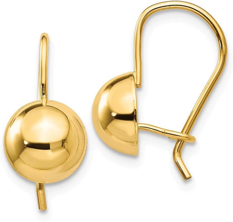 Beautiful Yellow gold 14K Yellowgold 14k 8.00mm Hollow Half Ball Earrings
