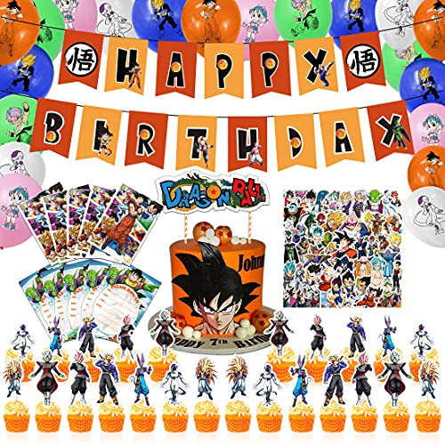 Dragon Ball Birthday Party Supplies, HAFTSS Dragon Ball Party Decorations, Include Birthday Banner, Cake Toppers, Balloons, Invitation Cards, Stickers, Anime Party Supplies for Boys