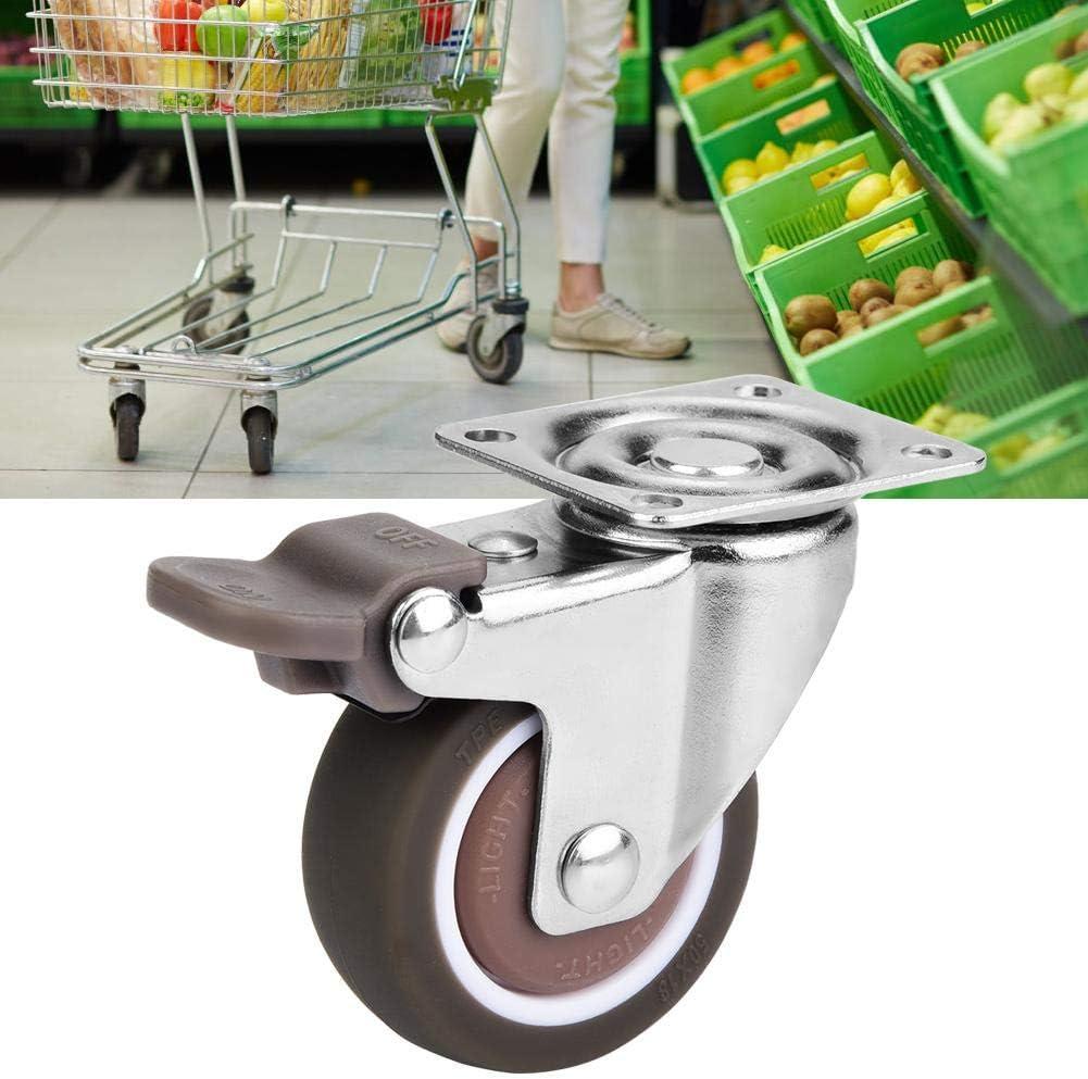 with brake 4 piezas de ruedas de ruedas giratorias de repuesto de goma TPE Muebles de servicio pesado Mute Ruedas de goma blandas con o sin freno
