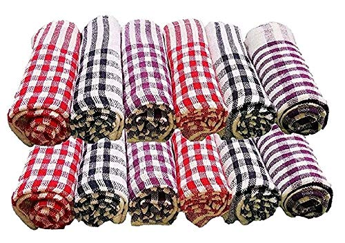 EaglesFord Kitchen Napkin/Cleaning Cloth/Table Wipe Pack of 12 with (Multicolour, Standard Size) 16 x16inch(Medium), Cotton