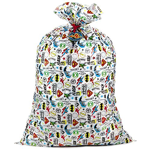 """Hallmark 56"""" Large Plastic Gift Bag (Justice League) for Birthdays, Parties, or Any Occasion"""