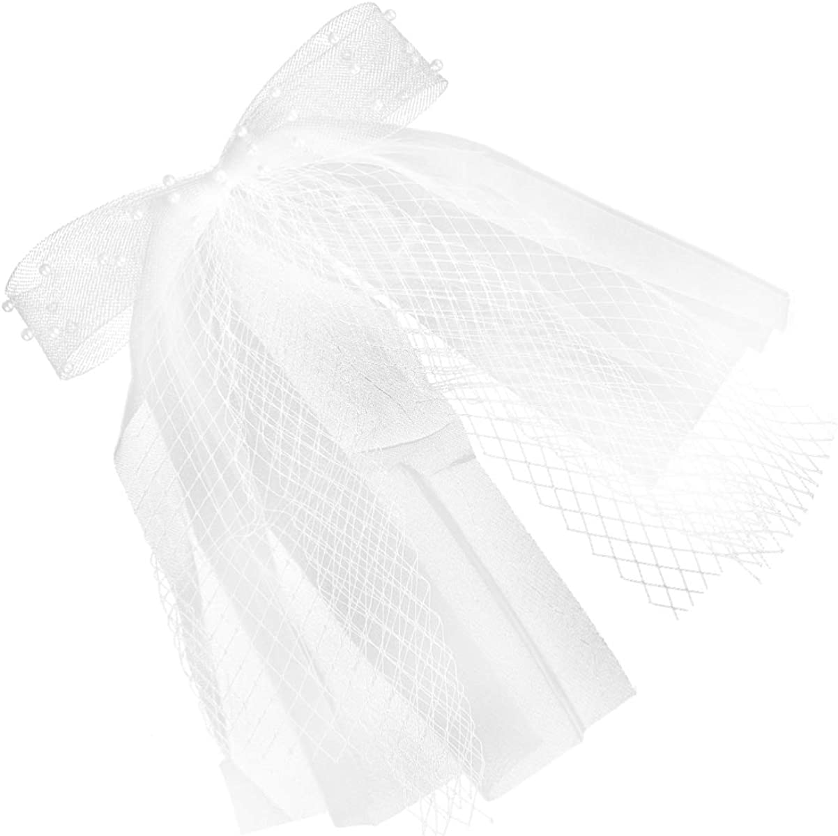 Amosfun Girls First Communion White Veil with Bow Knot Flower Girls Lace with Pearl Bridal Veil Headband for Wedding Party Church