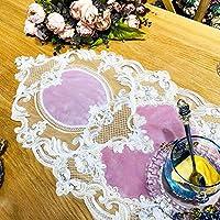 手作り かぎ針編み  レース テーブルランナー  レース  刺繍入り  テーブルランナー  ために  結婚式 祭りイベント 椅子 表 デコレーション、 3色 (Color : Pink, Size : 38*220cm)