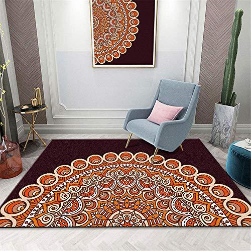 RUGMYW alfombras Salon Grandes Estampado clásico Vintage Naranja marrón Blanco Alfombra Dormitorio Infantil 80X160cm