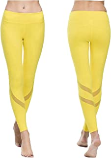 ONGASOFT Women's Yoga Pants Mesh Workout Leggings Running Tights with Inner Pocket