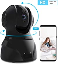 Home Security Camera Wi-Fi IP Camera, Wonbo Wireless HD 3MP Pan/Tilt/Zoom 2.4G with 2-Way Audio, Motion Detection, Night Vision, Auto-Cruise, Remote Monitor for Baby Pet Elder (Android/iOS)