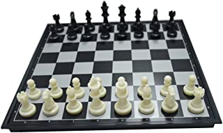 ZCQS 9.8'' Square Black/White Chess Set Magnet Chess Pieces Folding Chessboard for Travel Board Games Gifts