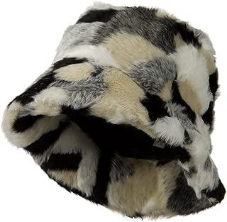 Faux Fur Patch Pattern Bucket Hat - Black White W15S34F