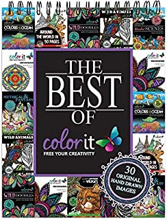 The Best of ColorIt Adult Coloring Book - Features 30 Original Hand Drawn Designs Printed on Artist Quality Paper with Hardback Covers, Spiral Binding, Perforated Pages, and Bonus Blotter by ColorIt