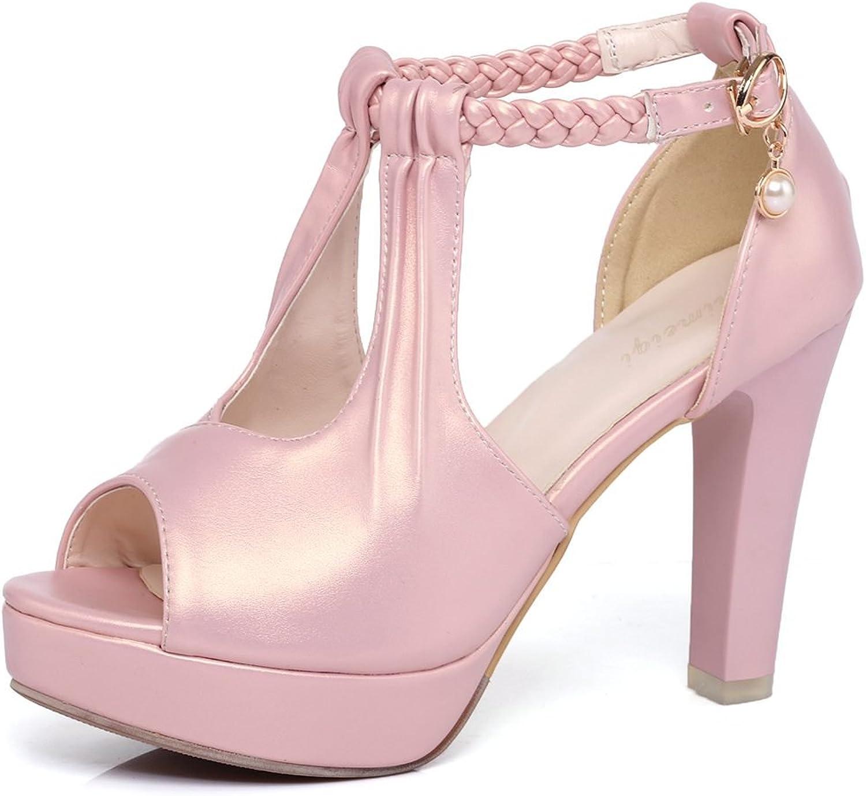 DoraTasia Women's Sweet Fashion Soft Leather Peep Toe Ankle Strap Buckle Chunky High Heels Platform Sandals