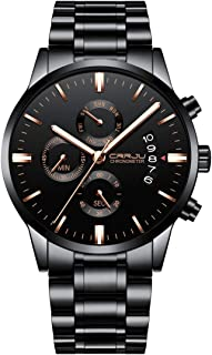 CRRJU Men's Business Chronograph Quartz Wristwatches,Stainsteel Steel Band Waterproof Watch