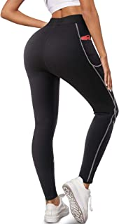 Bingrong Pantalon de Sudation Femme Sauna Legging Minceur Taille Haute Néoprène Pantalon avec Pocket Anti Cellulite Butt L...