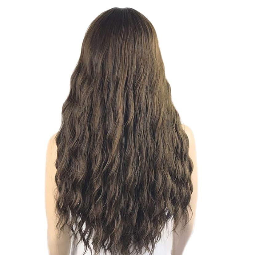 ロングブラウンウィッグ、ルーズカーリーウィッグ合成ロングウィッグブラウンウィッグ前髪ナチュラルルックス耐熱ファイバー毛用女性用