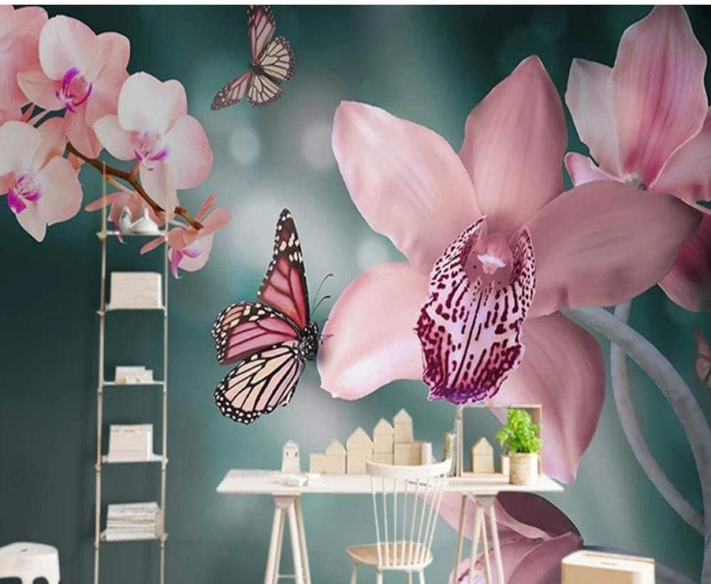 Butterfly Pink Moth 5 ☆ very popular All items free shipping Orchid Mural Photo Livin Large Wallpaper for