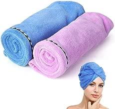 Microfiber Towel for Hair, 2 Pack Microfiber Hair Towel Wrap for Women, Rapid Hair Drying Head Towel for Curly Long Hair, Anti Frizz Turbon Towel